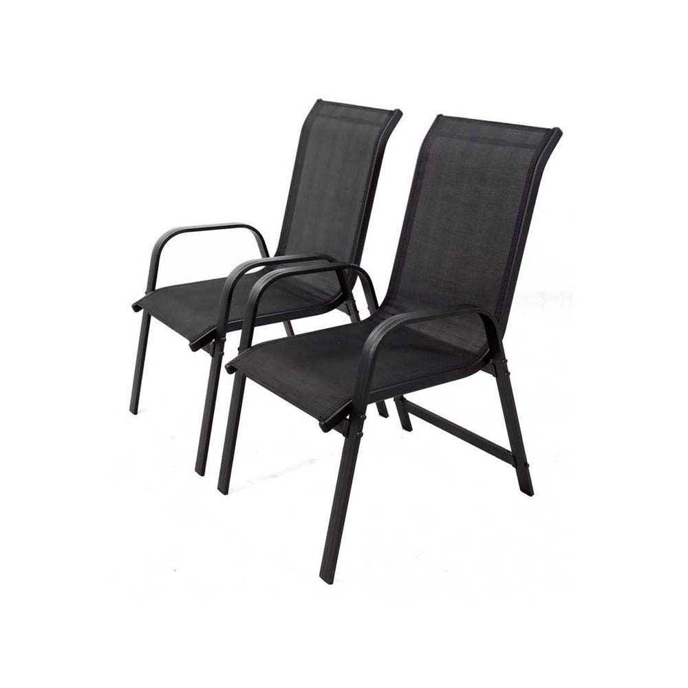 Fauteuil De Jardin En Aluminium Et Textilène Porto Noir X2 tout Chaise De Jardin Aluminium