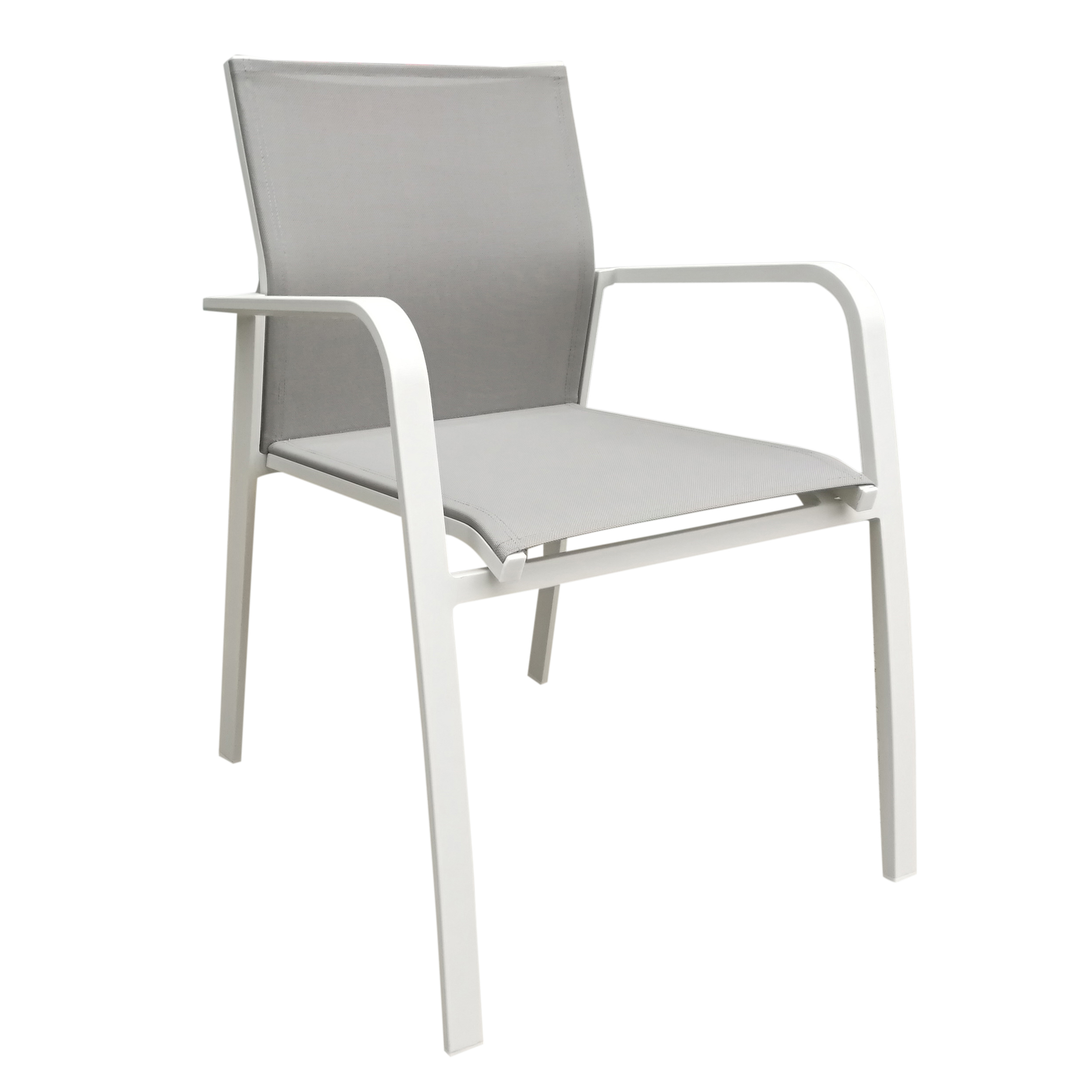 Fauteuil De Jardin Nice En Aluminium Blanc Gris Et Textilène Couleur Taupe à Chaise De Jardin Aluminium