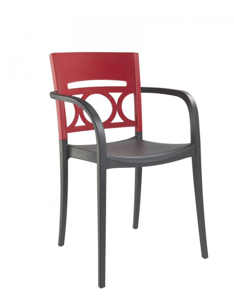 Fauteuil Moon Anthracite / Rouge serapportantà Grosfillex Chaise
