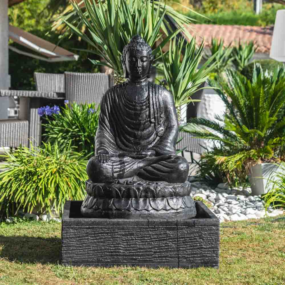 Fontaine De Jardin Bouddha Assis 1 M 20 Patiné Noir avec Bouddha Deco Jardin