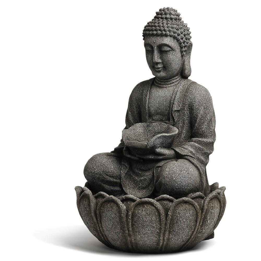 Fontaine Électrique Grise 6 Led avec Fontaine Bouddha