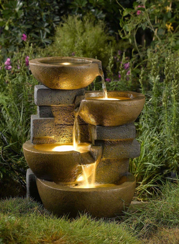 Fontaine, Led, Jardins | Fontes De Água Ao Ar Livre, Fontes ... tout Salon De Jardin Led