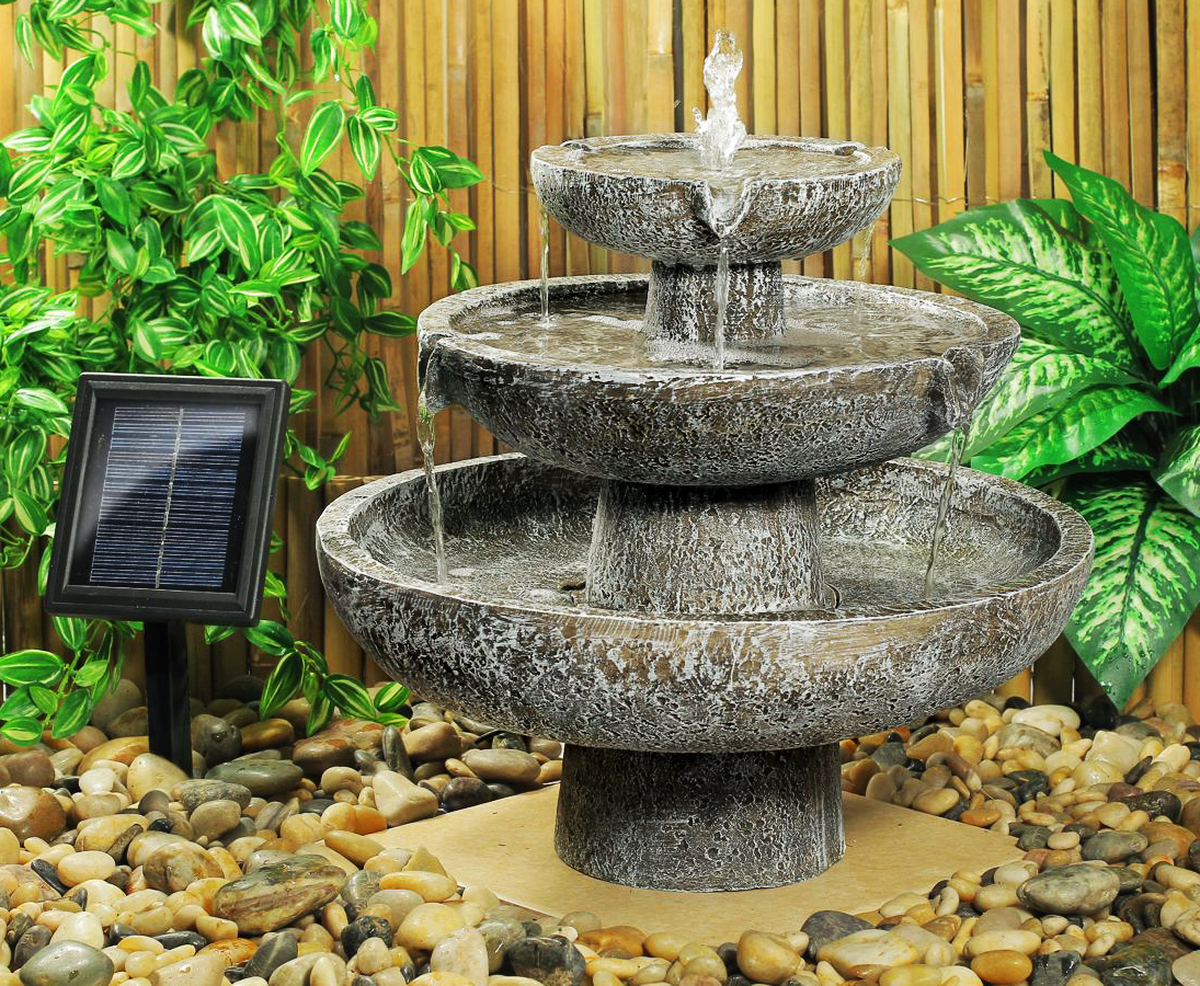 Fontaine Solaire Cascade 3 Niveaux Grise -Fontaines Photovoltaïques    Objetsolaire à Fontaine Solaire