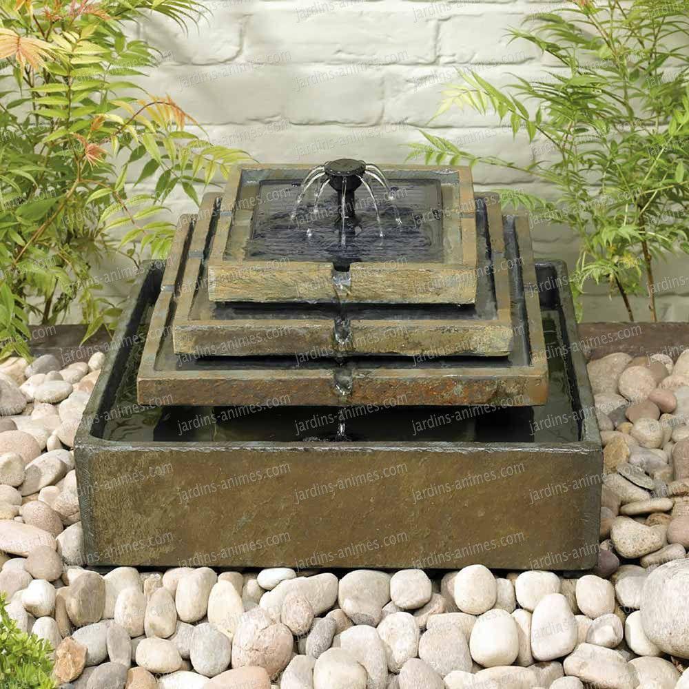 Fontaine Solaire En Ardoise 4 éTages | Caractéristiques D ... destiné Fontaine De Jardin Solaire