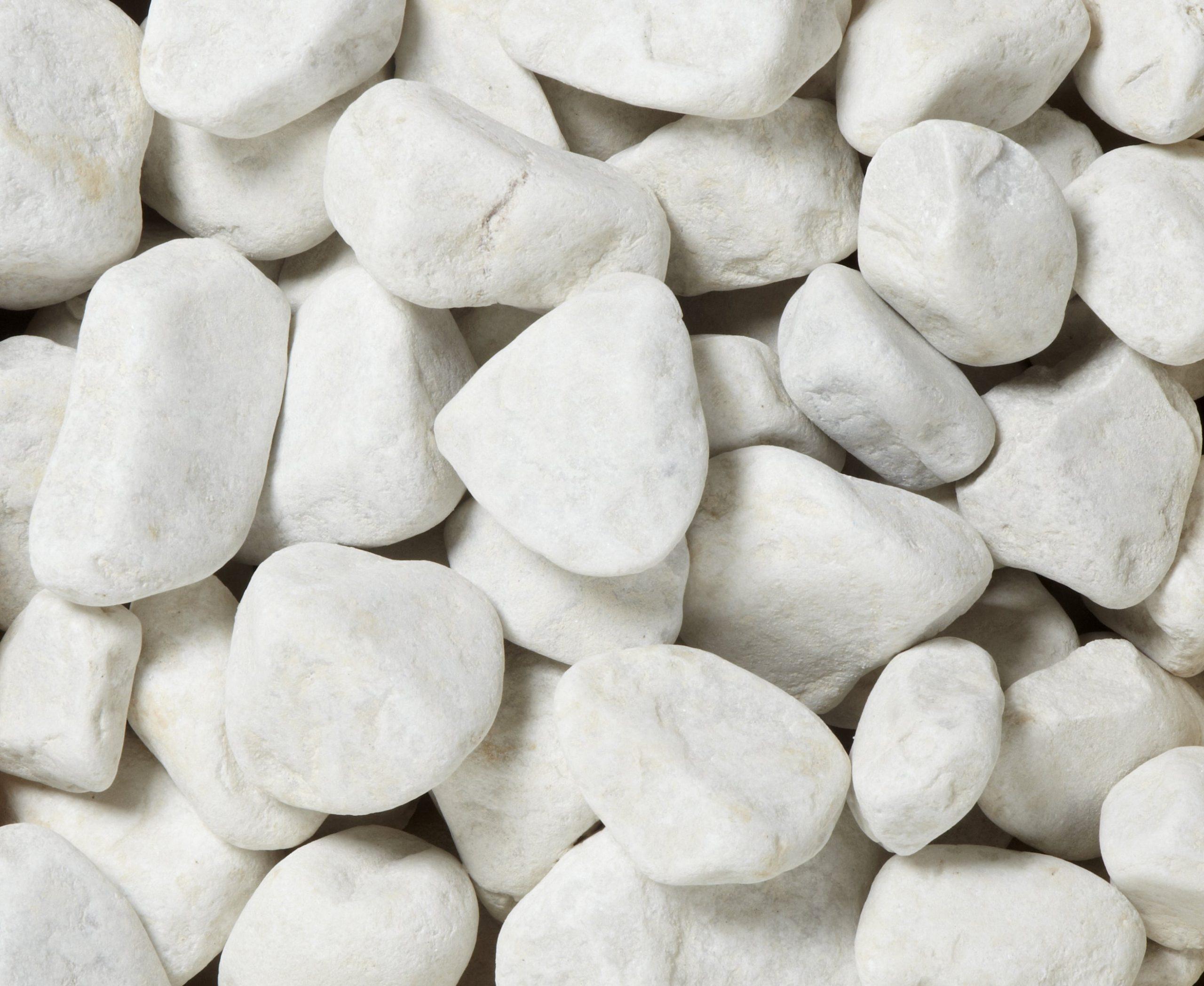 Galets En Marbre Mat, Blanc, 30/50 Mm, 25 Kg intérieur Galets Blancs Pas Cher