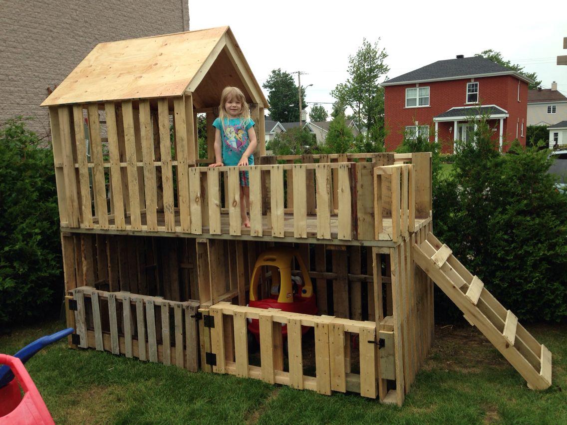 Garage Double À Voiturettes Et Maisonnette Pour Enfants À 2 ... pour Cabane Jardin Enfant Pas Cher