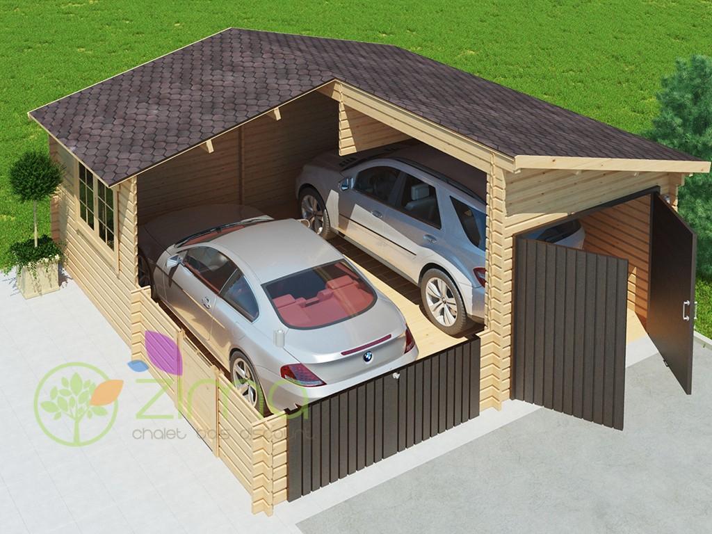 Garage En Bois 600X600 44Mm, 36M² dedans Garage Bois Pas Cher
