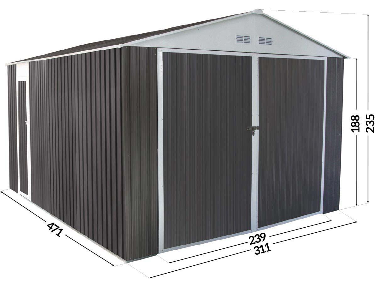 Garage Metal Nevada Avec Porte Battante - 15,36 M² 74840 76410 avec Oogarden Abri De Jardin