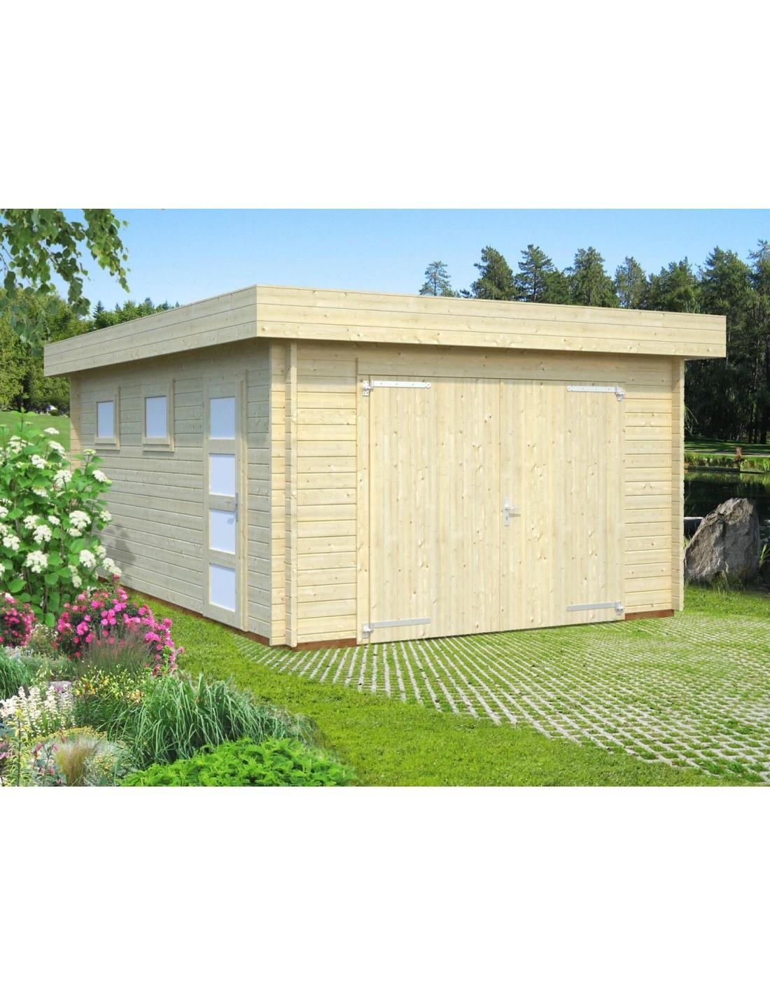 Garage Rasmus 19.8 M² En Bois Massif De 44 Mm - Serres-Et-Abris pour Joint Epdm Caoutchouc Pour Serre De Jardin Acd