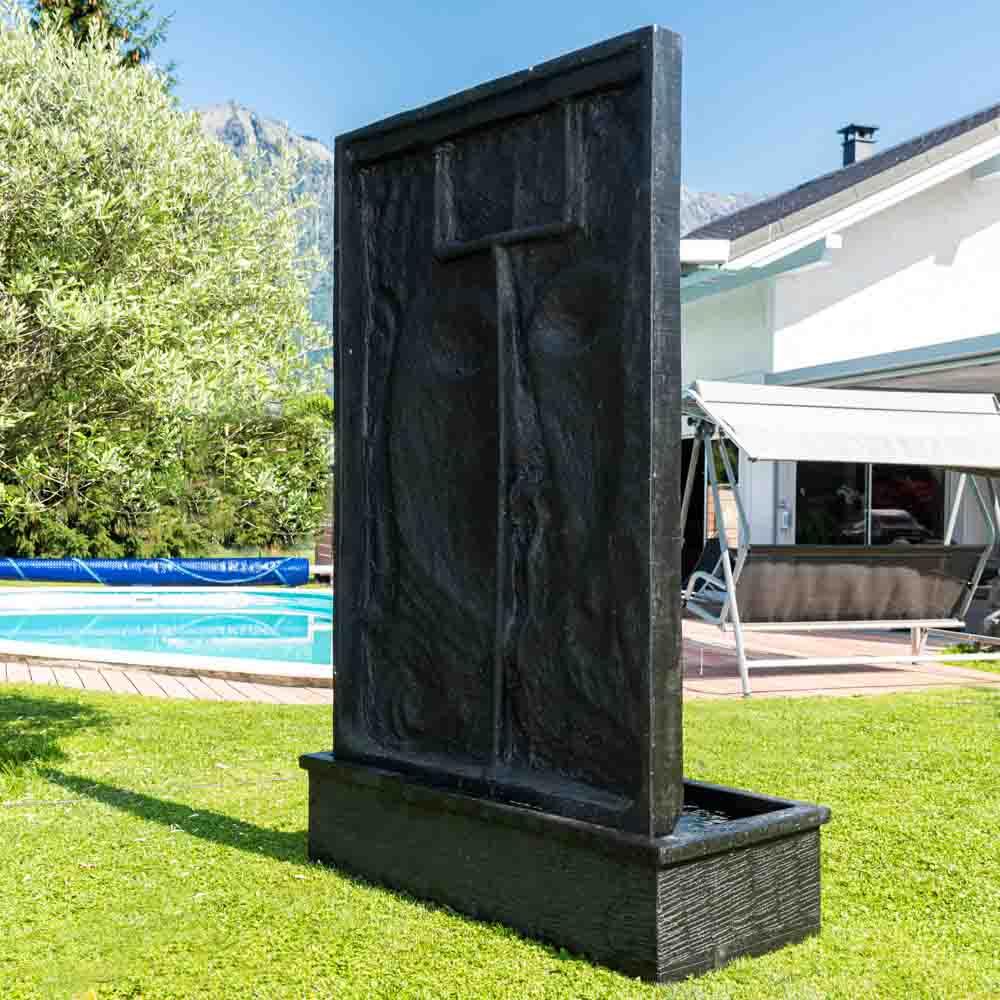 Grande Fontaine De Jardin Mur D'eau Visage De Bouddha 2M 10 Noir pour Mur D Eau Jardin