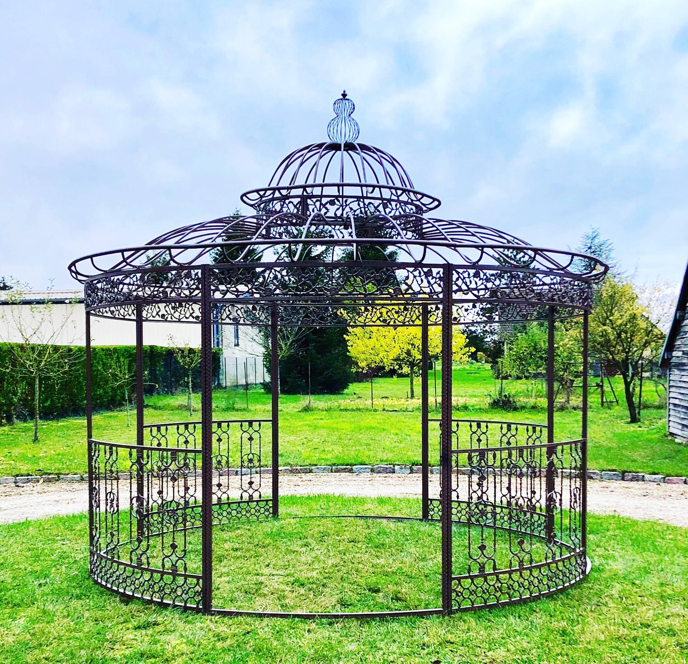 Grande Tonnelle Kiosque De Jardin Pergola Abris Rond Kiosque ... à Kiosque Jardin Fer