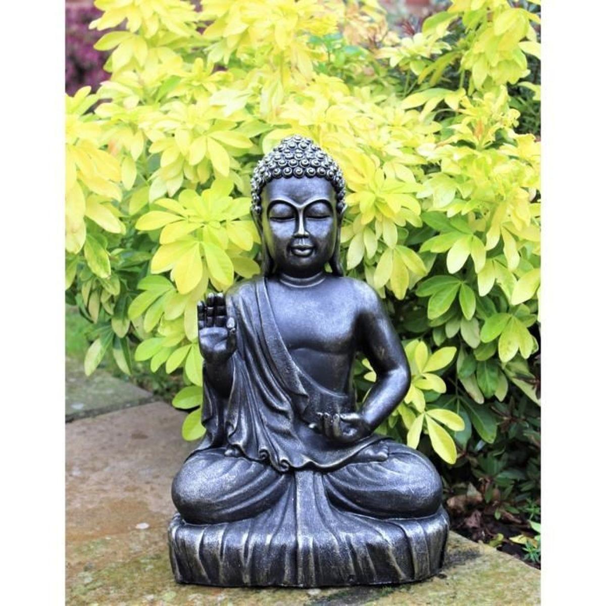 Gris Clair Jardin Figurines Relaxdays Statue De Bouddha ... avec Bouddha Deco Jardin