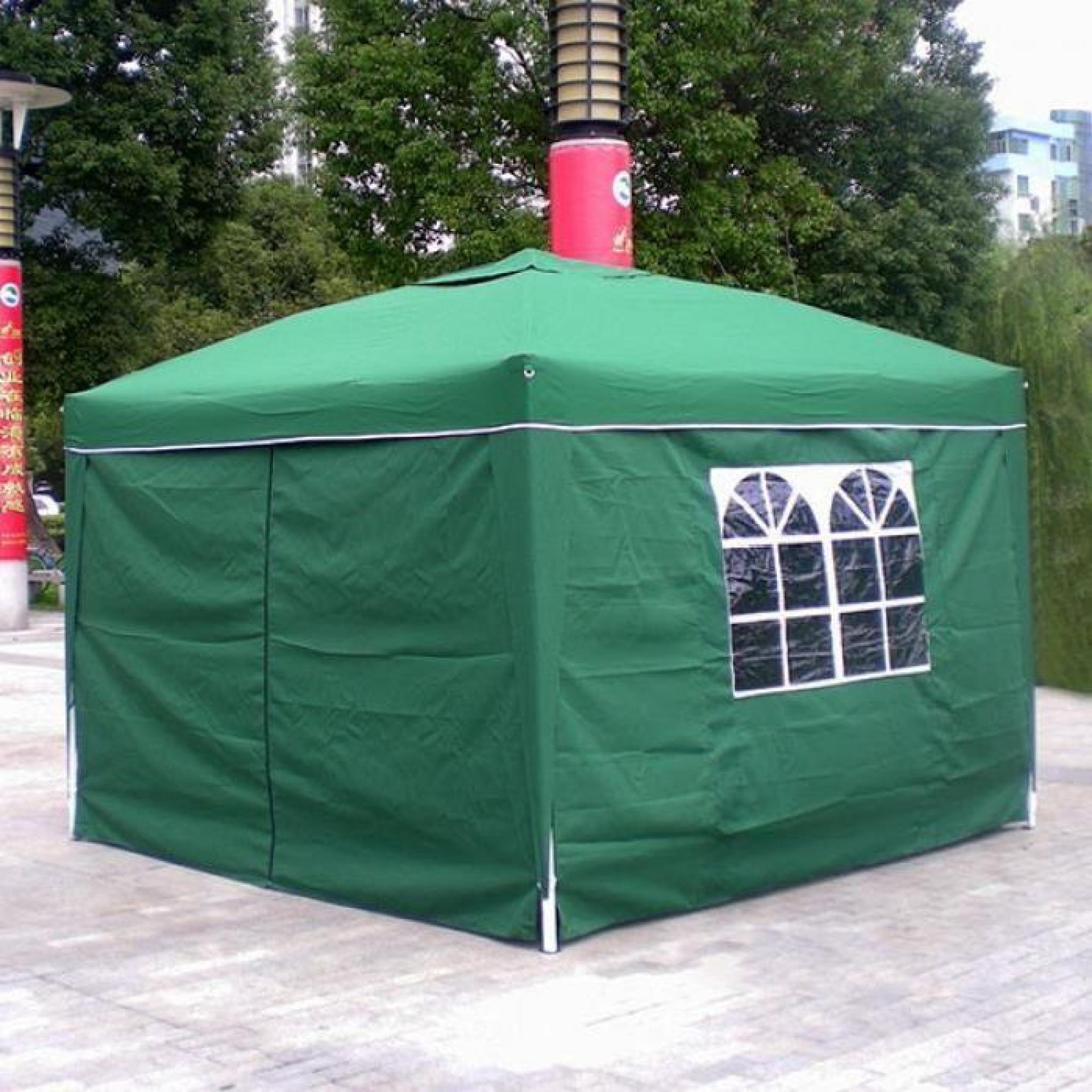 Homdox 3 X 3M Tente Tonnelle Pliante Polyester Auvent Camping Tente En  Aluminium Tube-Support Avec 4 Panneaux Latéraux serapportantà Auvent Pas Cher