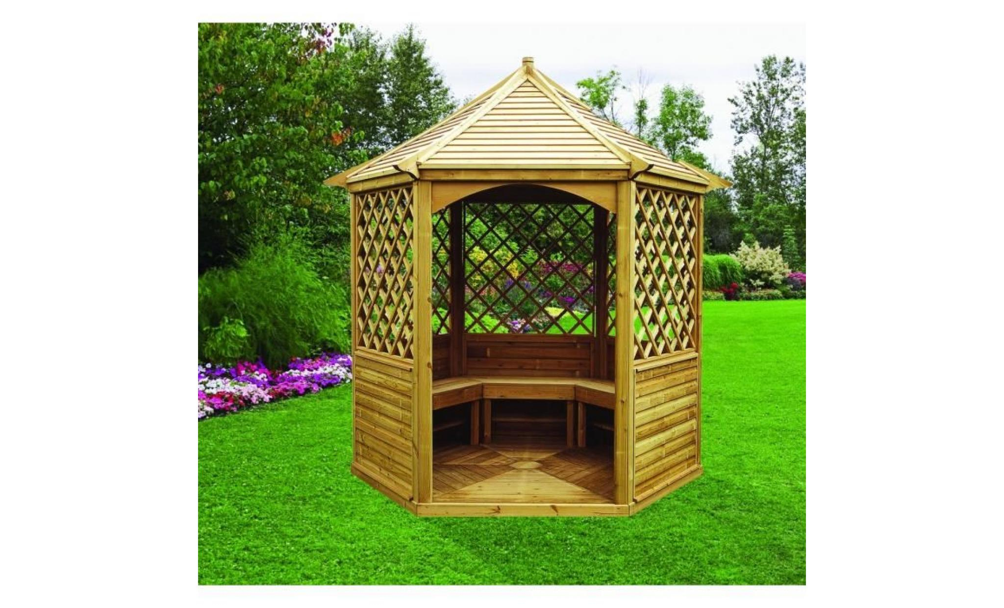 Kiosque Pavillon Hexagonal 7,30M² - Toiture En Bois encequiconcerne Kiosque Jardin Bois