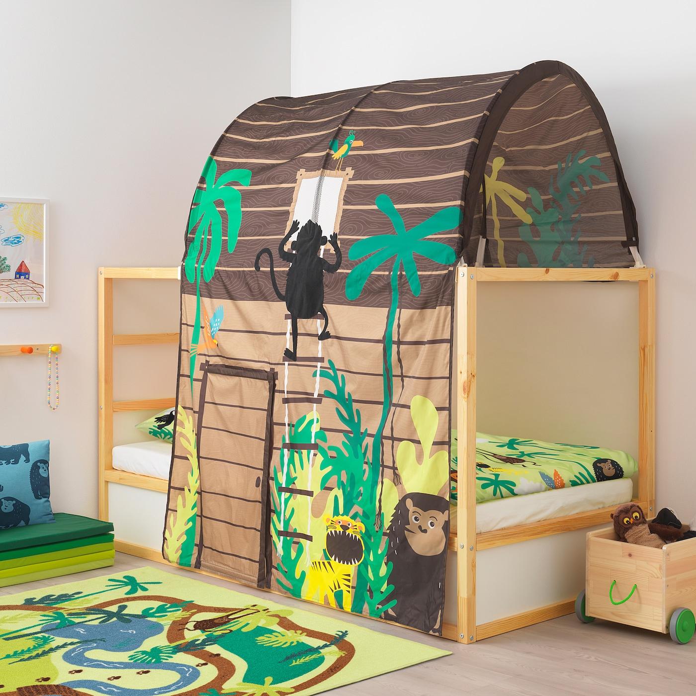 Kura Tente Pour Lit Avec Rideau - Hutte Brun destiné Lit Cabane Ikea