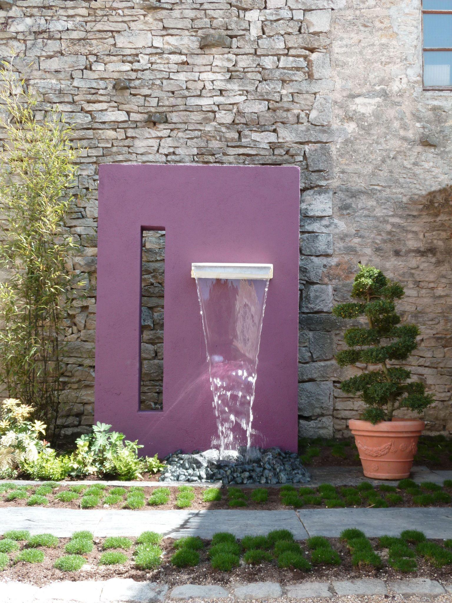 Lame D'eau | Mur D Eau Extérieur | Jardins, Jardin Mineral ... dedans Mur D Eau Jardin