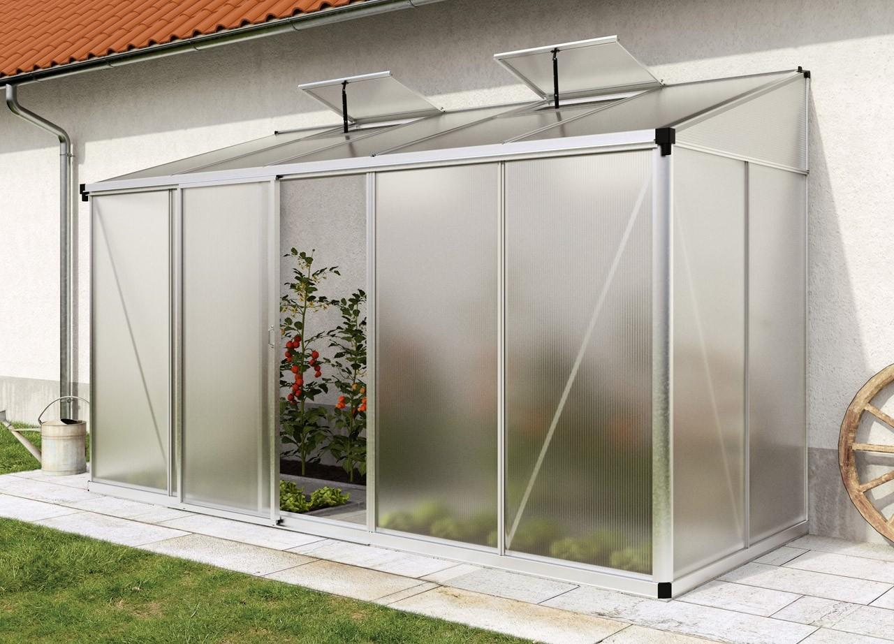 Lean-To Greenhouse Eden 25 (Including Automatic Window ... à Serres Adossées