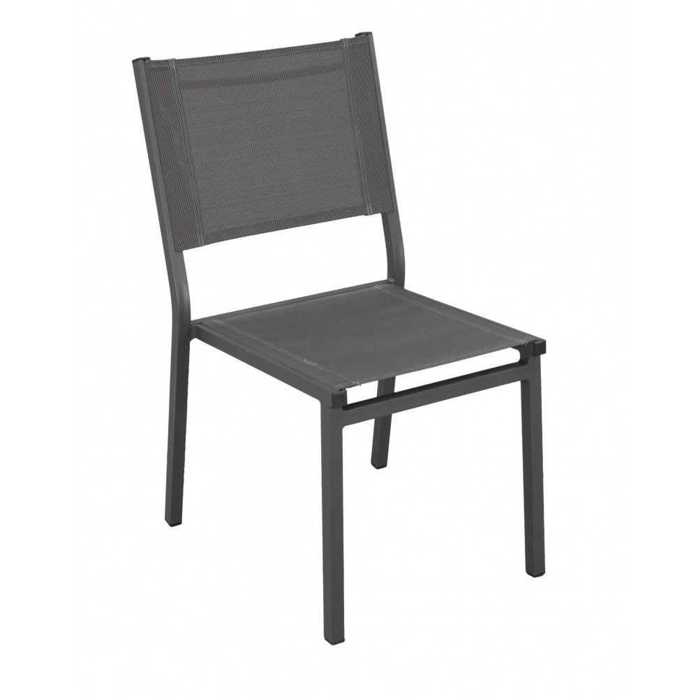 Lot De 2 Chaises De Jardin Aluminium - Textilène Gris Foncé - Sinawa Indoor  Outdoor Sur Bricozor destiné Chaise De Jardin Aluminium