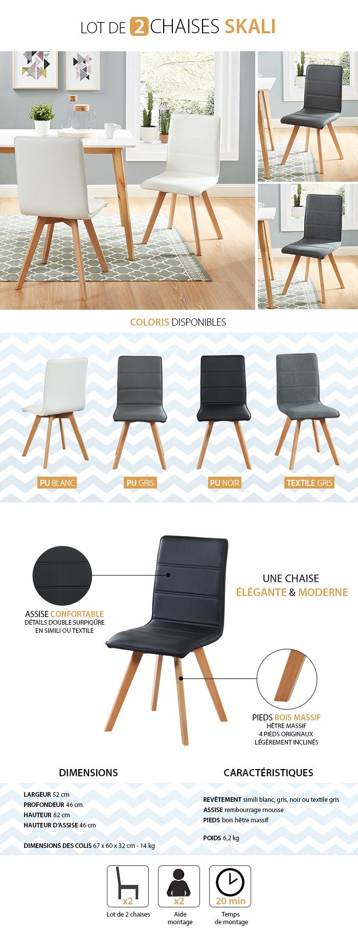 Lot De 2 Chaises De Séjour Design Scandinave Skali serapportantà Auchan Chaise