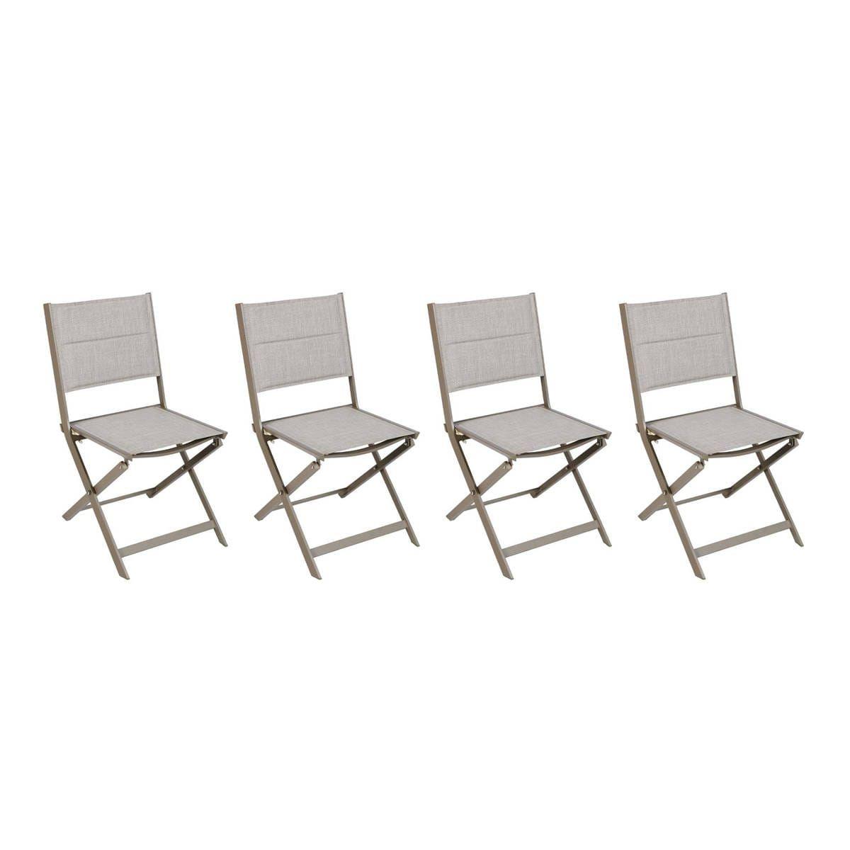 Lot De 4 Chaises De Jardin Pliantes Allure Taupe Chiné ... pour Chaise Hesperide