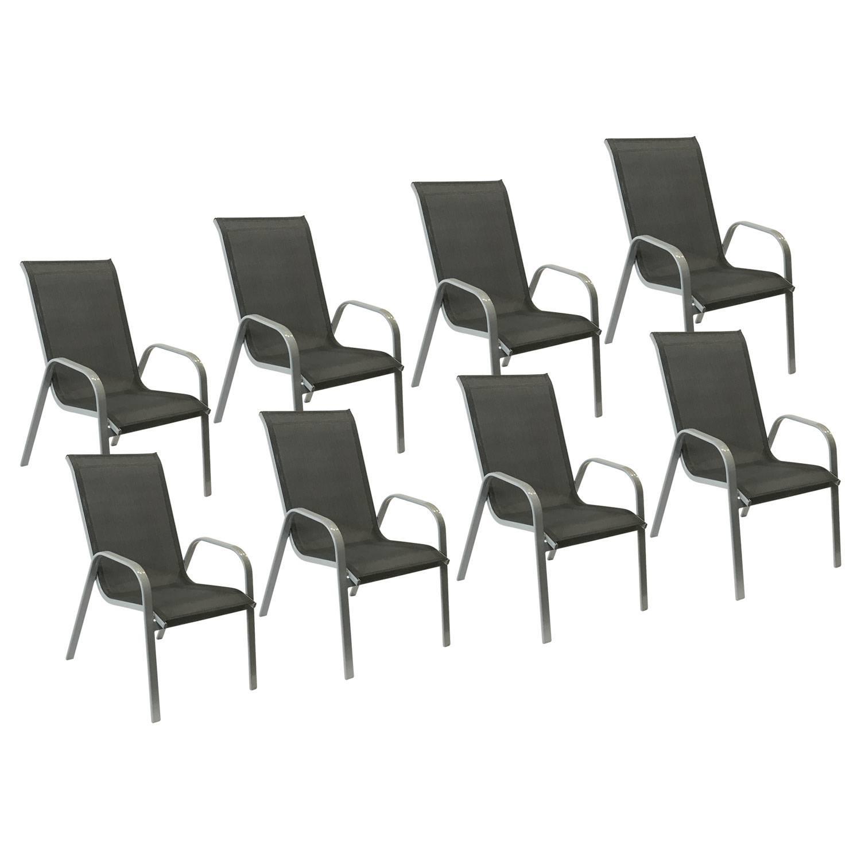 Lot De 8 Chaises De Jardin Aluminium Et Textilène Gris pour Chaise De Jardin Aluminium