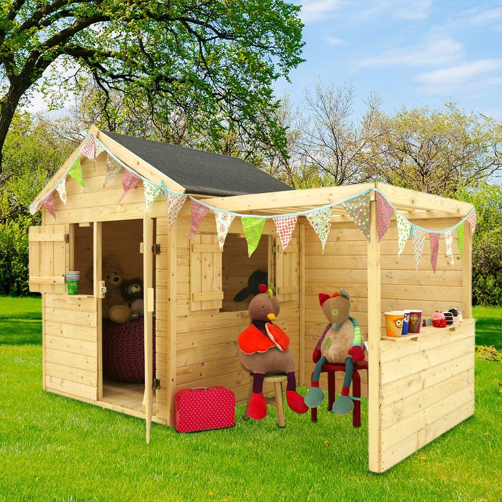 Maisonnette Enfant Bois Alpaga Avec Pergola avec Maisonnette Enfant Bois Alpaga Avec Pergola