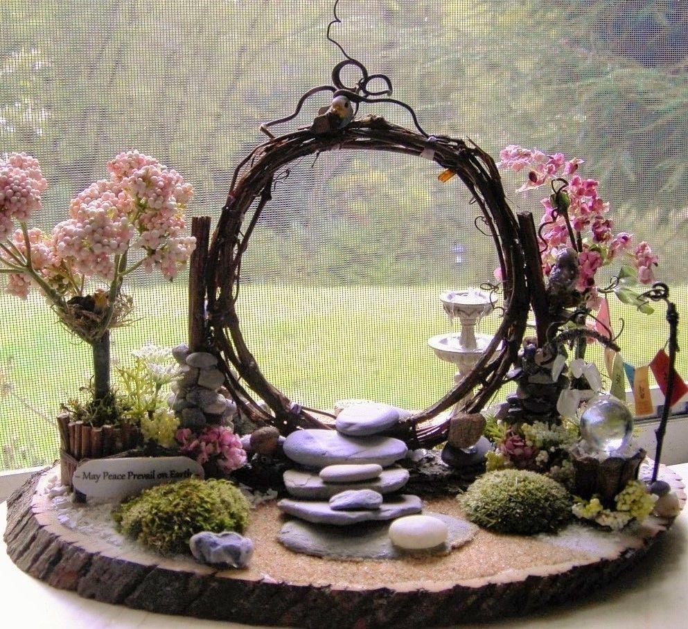 Miniature Fairy Zen Twig Moon Gate Peace Garden With ... à Decor Jardin Zen