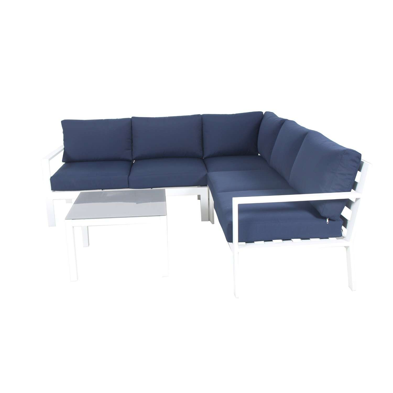 Mio - Salon De Jardin Design Aluminium - Blanc Bleu Marine -  Intérieur/extérieur concernant Salon De Jardin Blanc Design