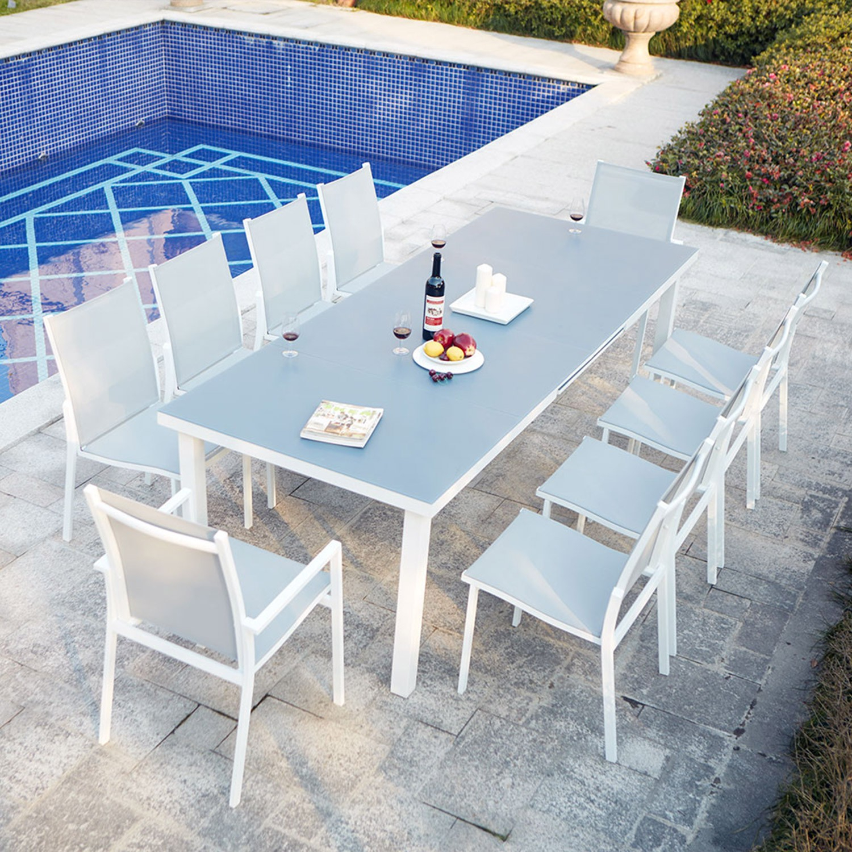 Niari 10 : Table De Jardin Extensible 10 Personnes Avec 2 Fauteuils Et 8  Chaises En Aluminium pour Salon Jardin 10 Personnes