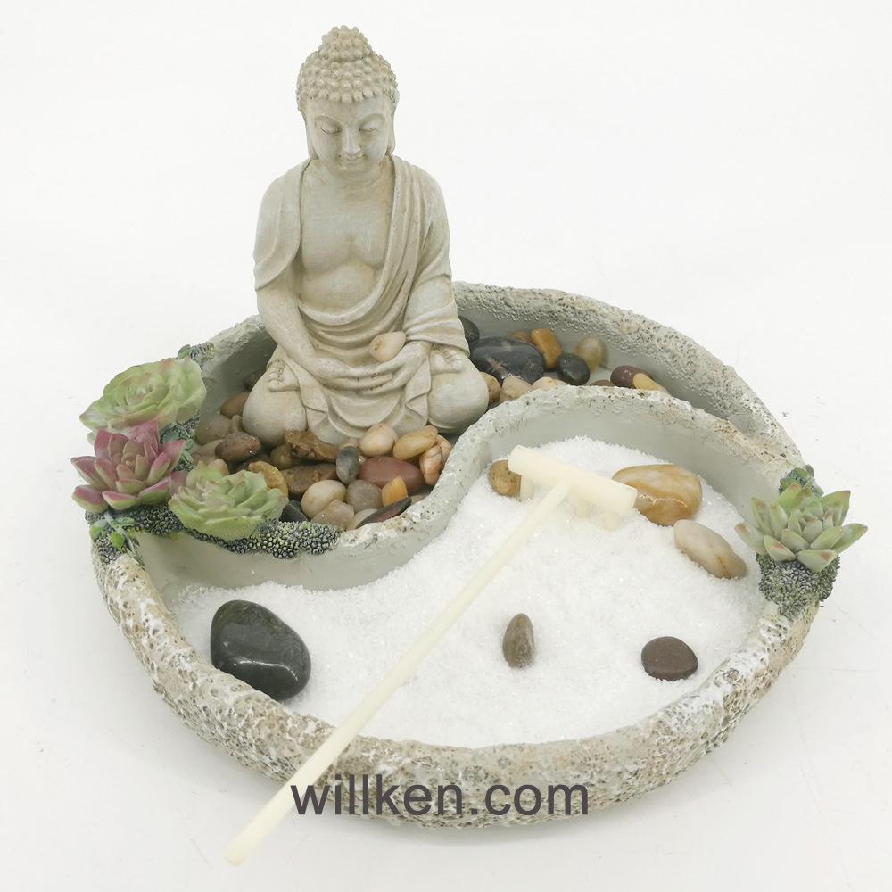 Nouvelle Décoration Feng Shui Sable Mini Jardin Zen Statue ... intérieur Bouddha Pour Jardin Zen
