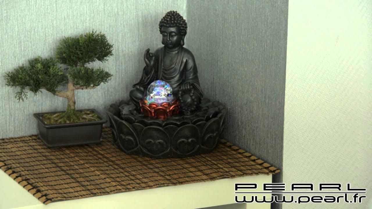 Nx6579 - Fontaine Lumineuse D'intérieur 'bouddha' Avec Boule En Verre à Fontaine Bouddha Interieur