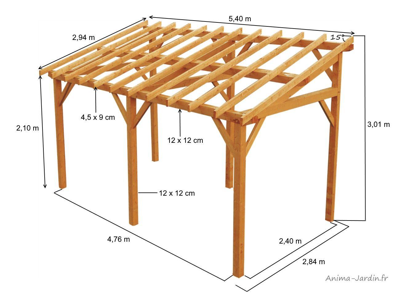 Ossature En Bois De 15M², Vanoise, Burger, Structure Carport ... pour Carport Bois Pas Cher