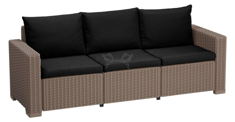 Outdoor Water Resistant 6 Piece Seat Cushion Set For Keter Allibert  California Rattan 3 Seater Sofa - Black serapportantà Allibert California