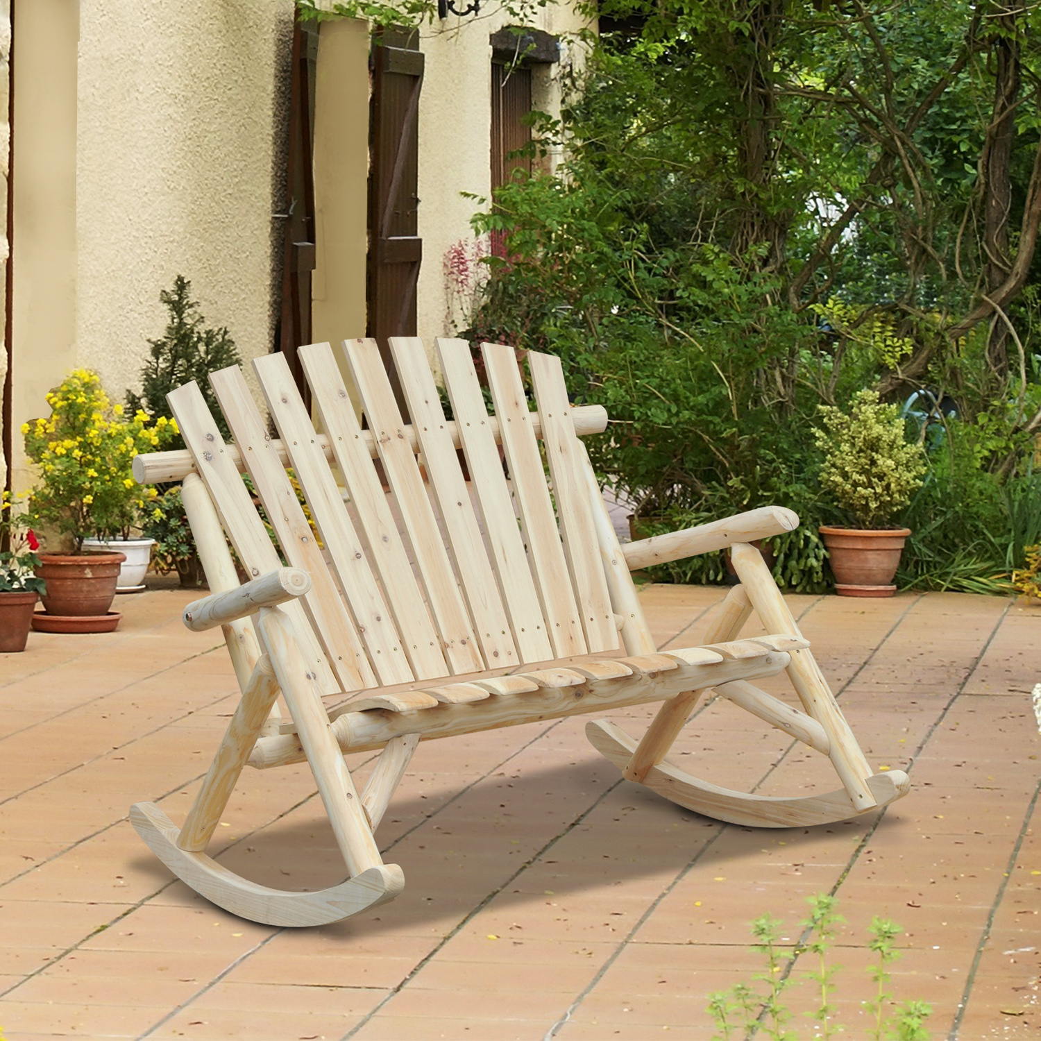 Outsunny 2 Person Fir Wood Rustic Outdoor Patio Adirondack ... destiné Fauteuil Adirondack Occasion