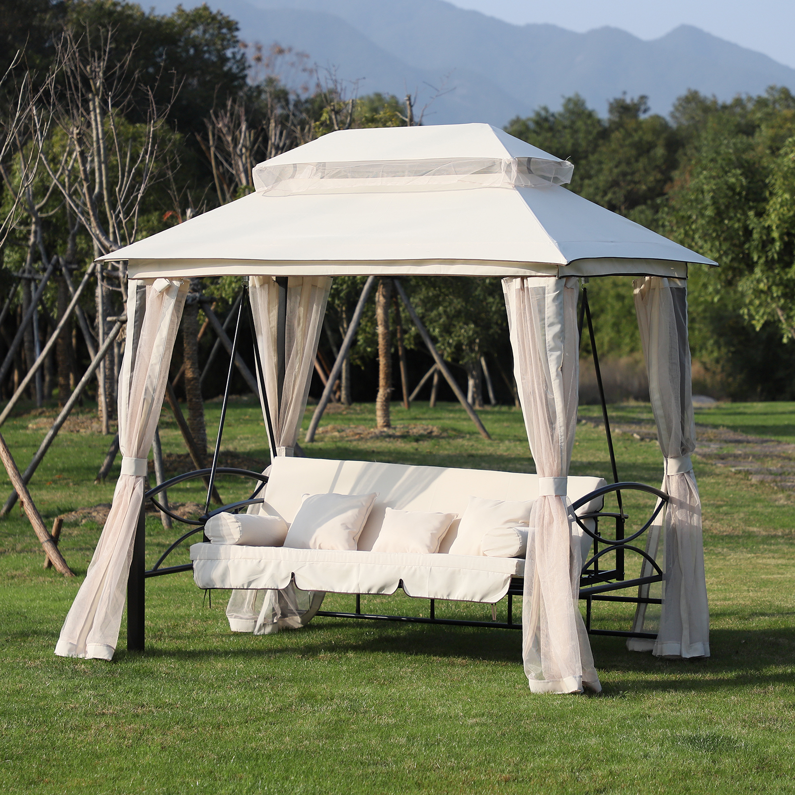 Outsunny Outdoor 2-In-1 Convertible Swing Chair Bed 3 Seater Porch  W/nettings dedans Balancelle Convertible