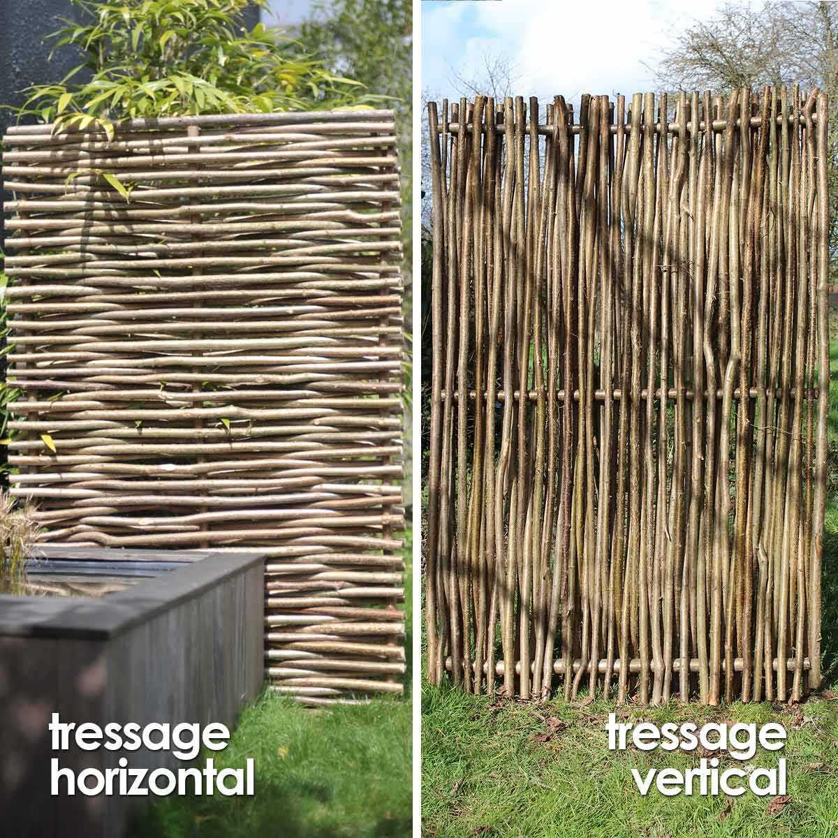 Panneau Noisetier Tressage Horizontal Ou Vertical pour Brise Vue Cloture Jardin