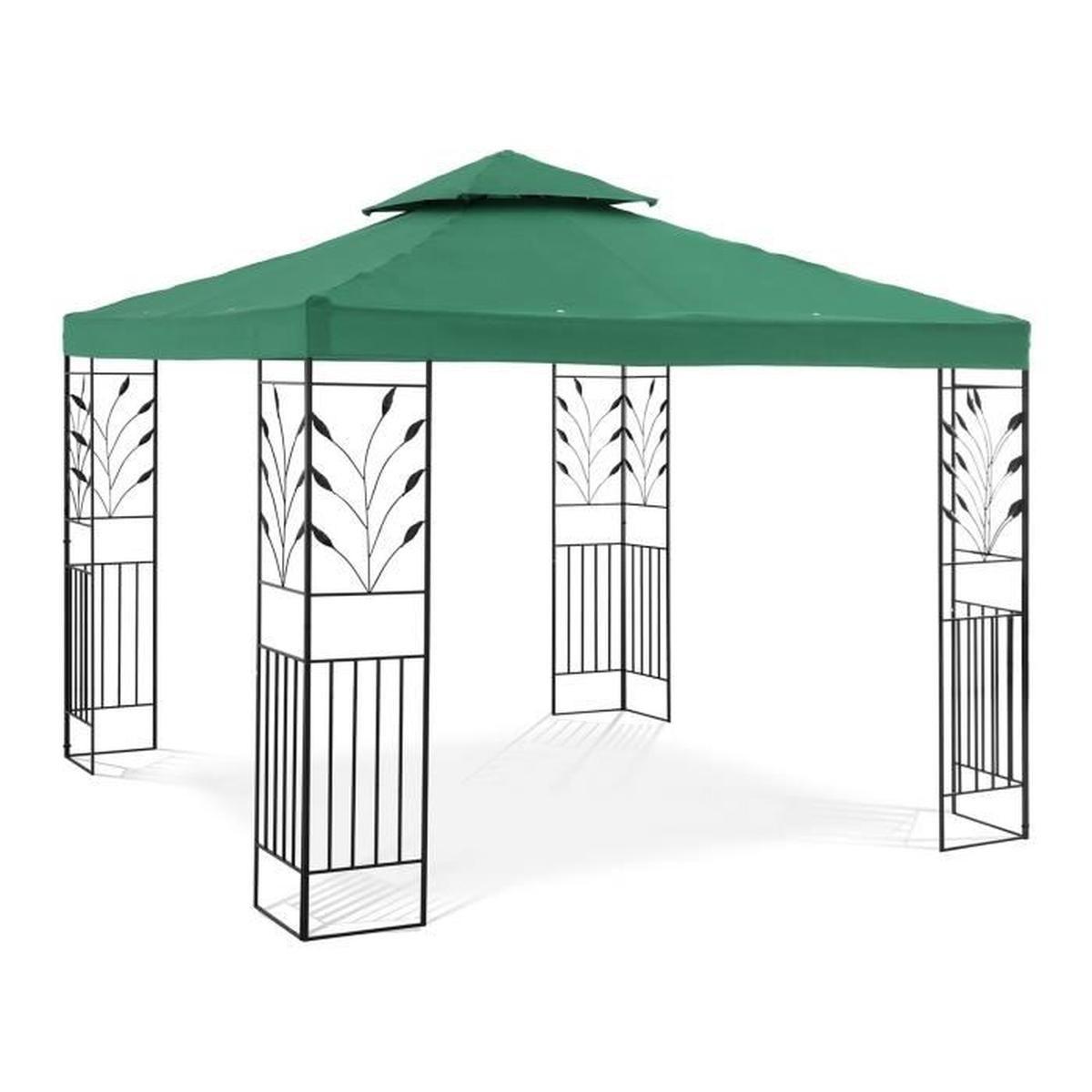 Pergola De Jardin Terrasse En Kit Tonnelle Store Toiture Uniprodo  Uni_Pergola_3X3G (3 X 3 M, Faîte 2,6 M, Toile 180G/m2) tout Pergola Cdiscount