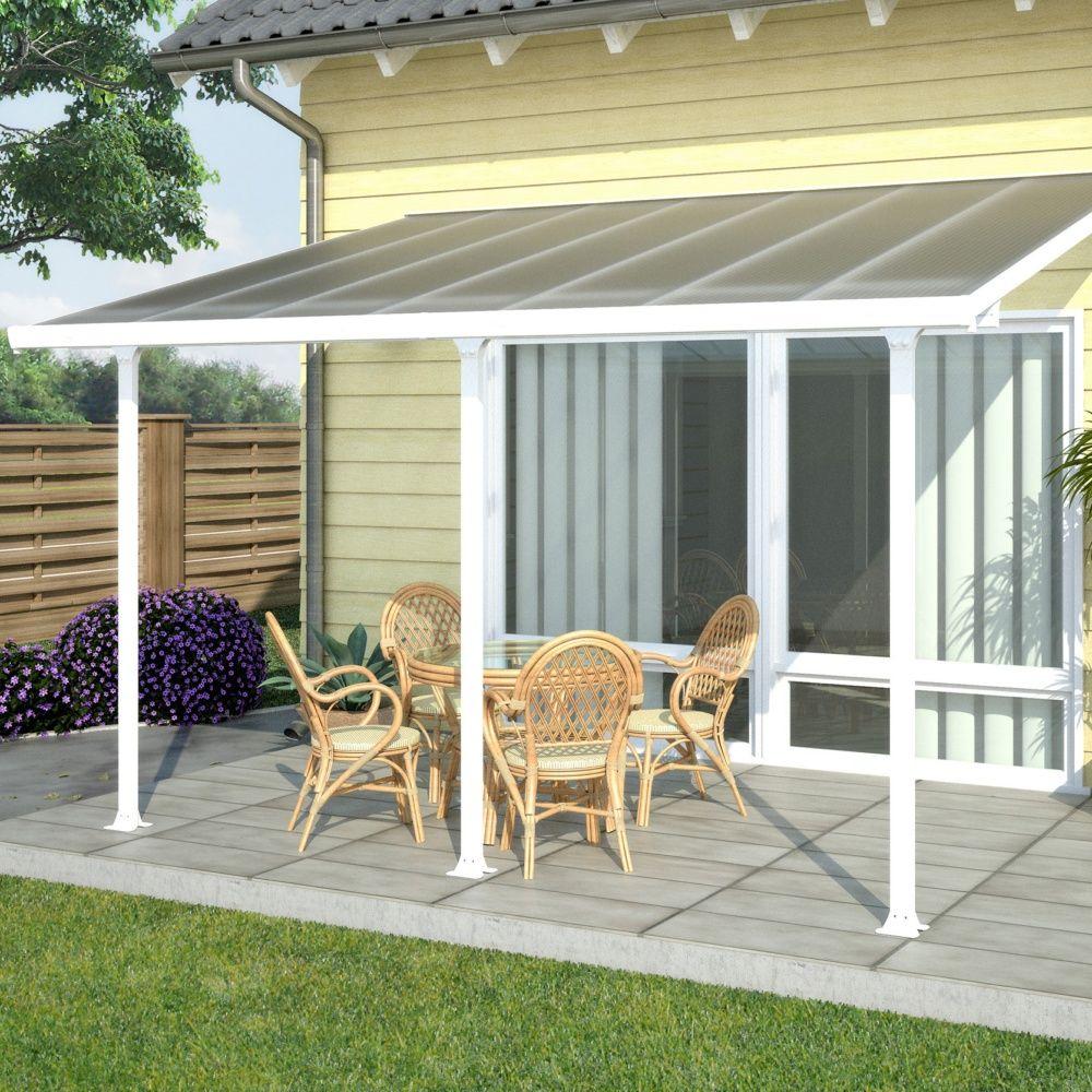 Pergola Toit Terrasse Aluminium Et Polycarbonate 4X3 M Blanc concernant Toit Terrasse Pas Cher