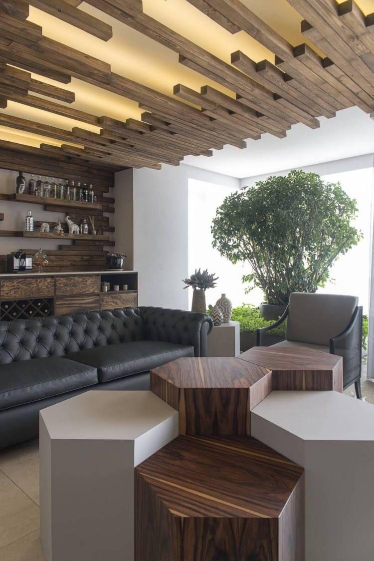 Plafond Bois Design Moderne À Panneaux Lumineux Led Et ... intérieur Salon De Jardin Led