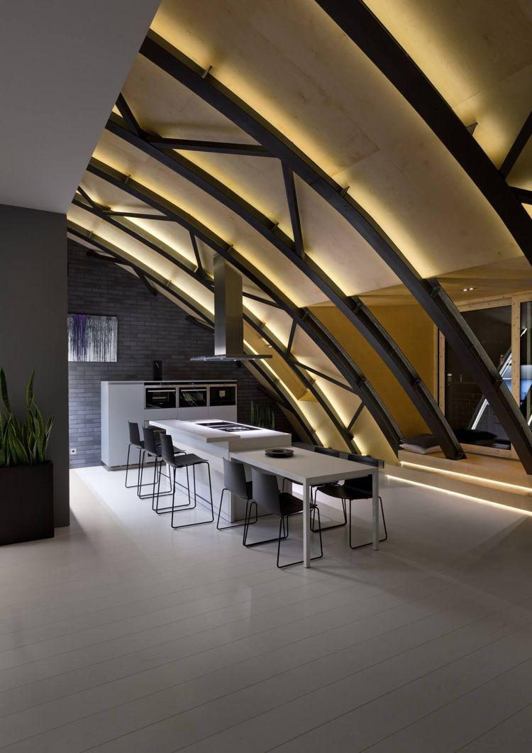 Plafond Led, Éclairage Indirect Et Toit-Voûté Au-Dessus De ... avec Salon De Jardin Led