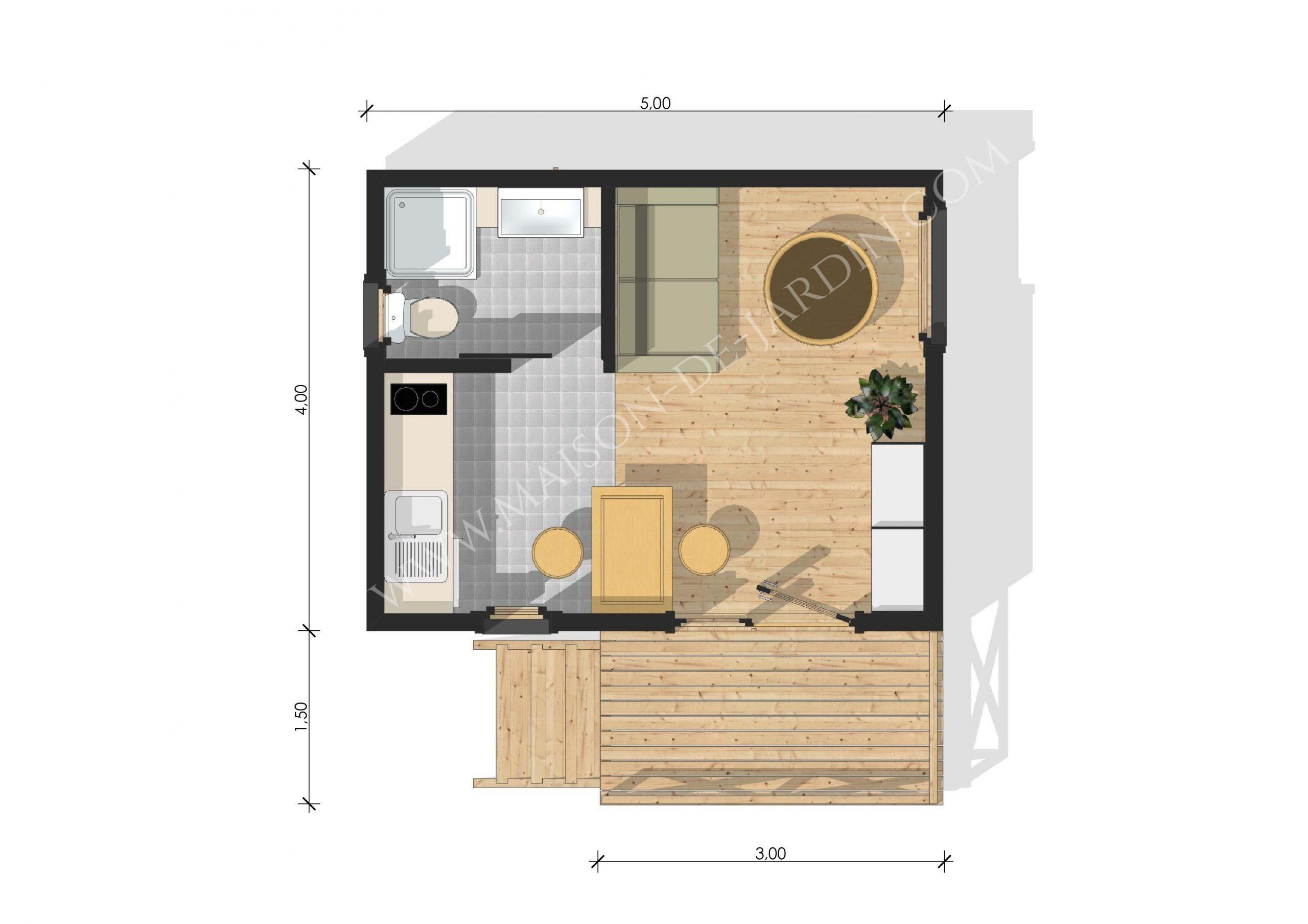Plan Maison 20M2 Avec Mezzanine | Plan Maison, Plan Maison ... destiné Chalet En Bois 20M2