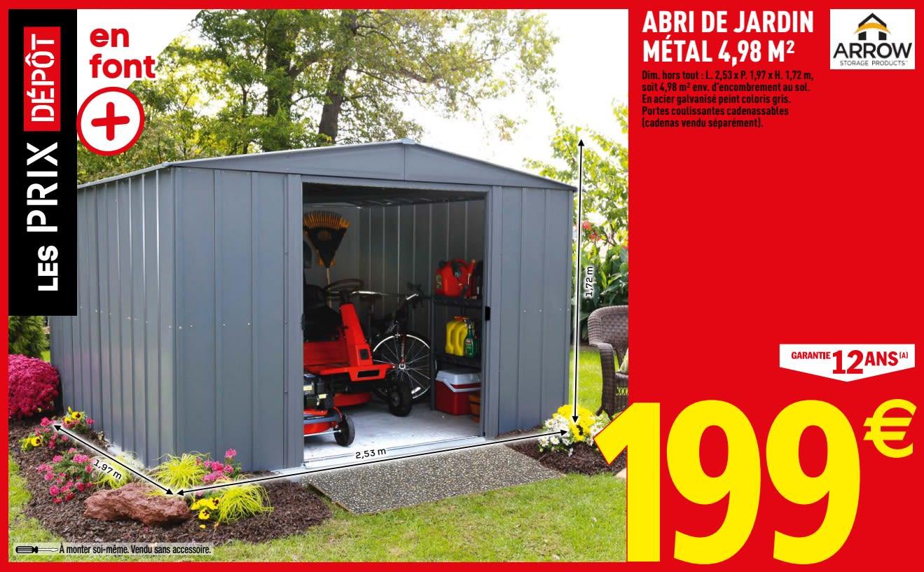 Promotion Brico Depot: Abri De Jardin Métal - Arrow (Jardin ... pour Abri Jardin Brico Depot