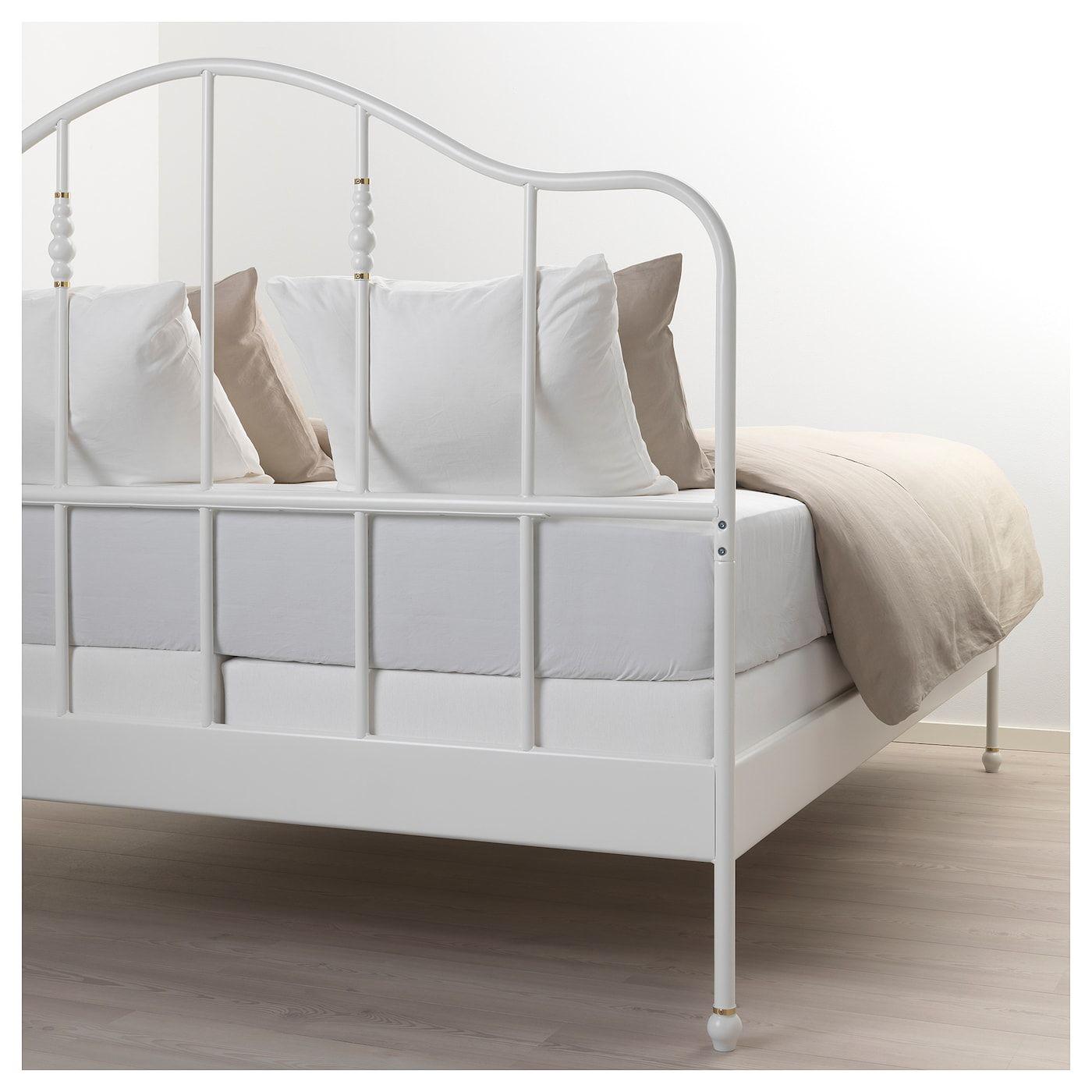Sagstua Bed Frame - White, Espevär Queen | Structure De Lit ... à Lit Fer Forgé Ikea