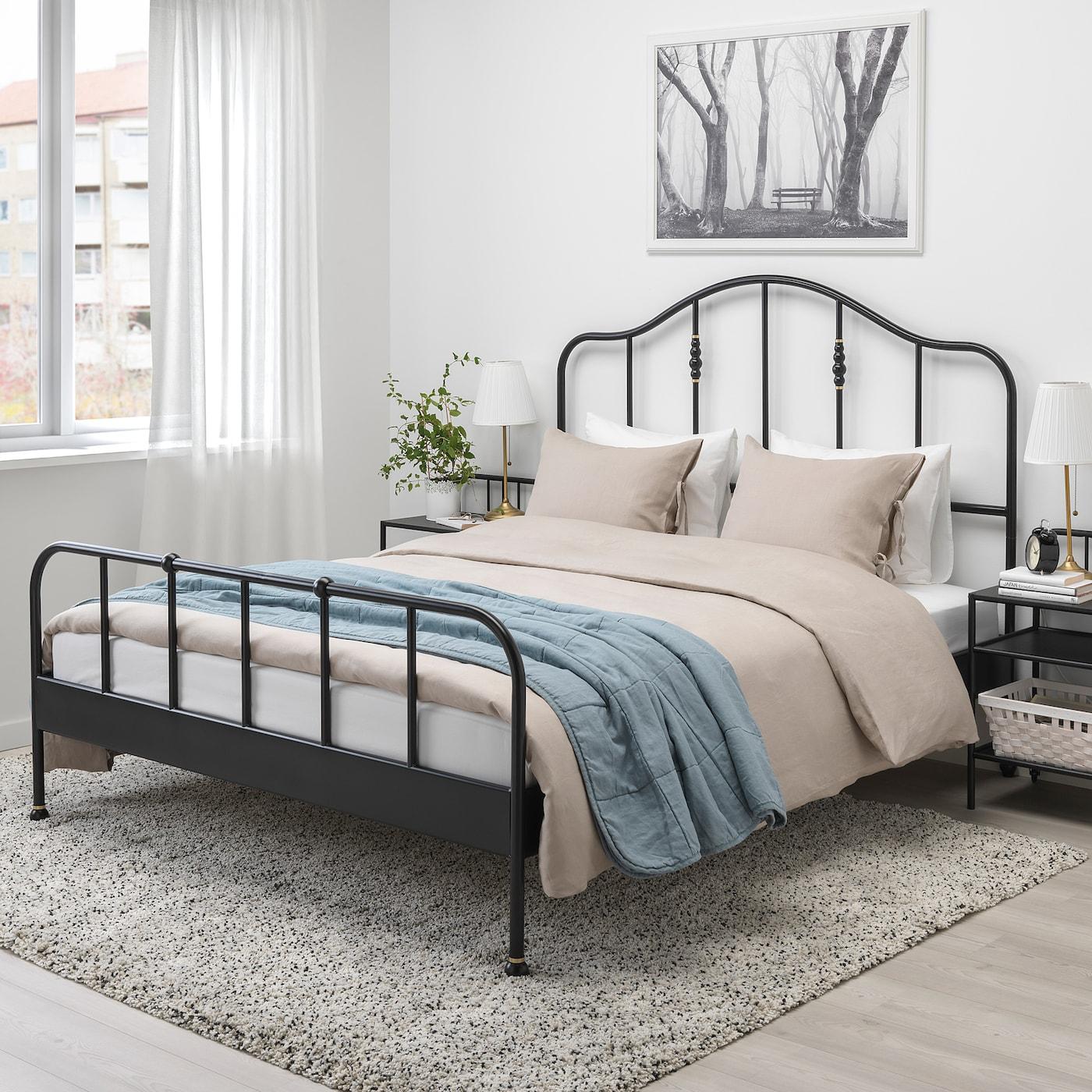 Sagstua Cadre De Lit - Noir, Leirsund 160X200 Cm tout Lit Fer Forgé Ikea