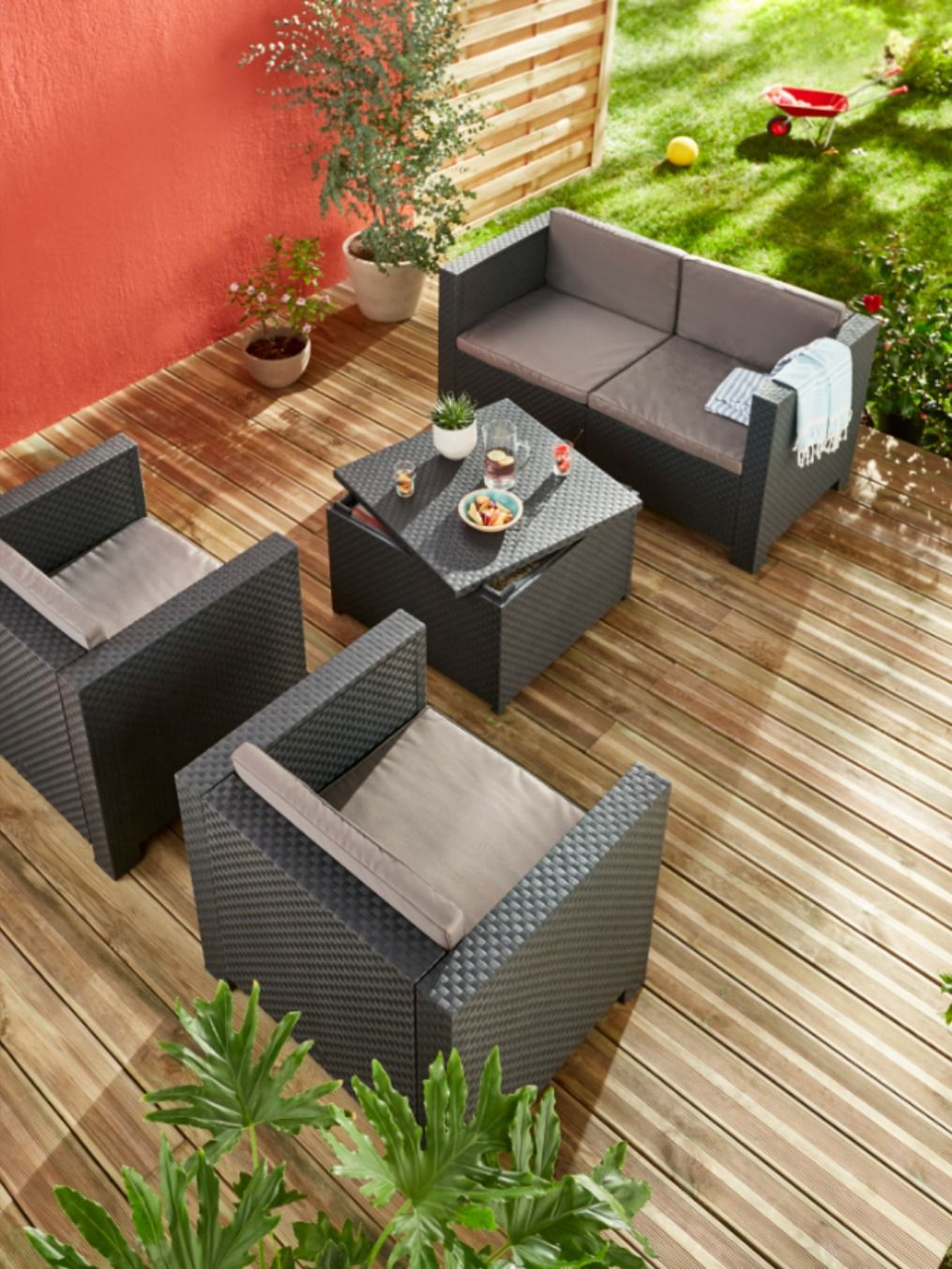 Salon Bas De Jardin Blooma Diva Confort 4 Personnes | Salon ... tout Mobilier De Jardin Blooma