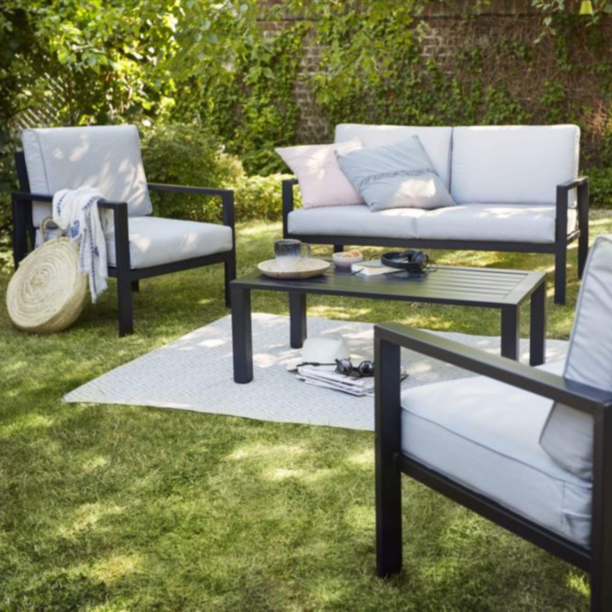 Salon Bas De Jardin Blooma Jaz Aluminium Gris 4 Personnes ... encequiconcerne Mobilier De Jardin Blooma