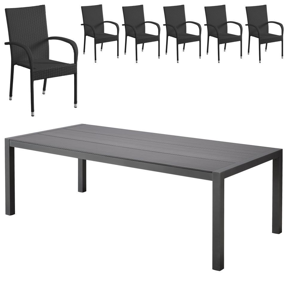 Salon De Jardin «Atlanta/palermo» (1 Table, 6 Chaises Empilables, Noir) concernant Table Jardin Noire