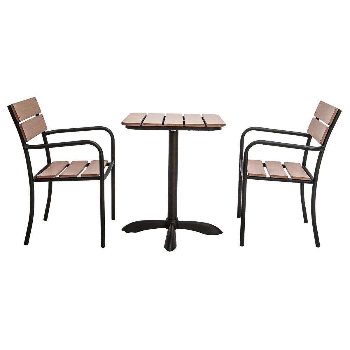 Salon De Jardin Avec Table Bistrot Et 2 Chaises Noir Et Bois Pub serapportantà Table Jardin Noire