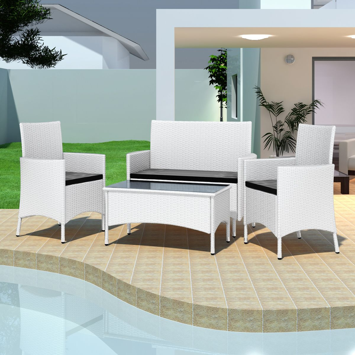 Salon De Jardin Blanc En Résine Tressée 2 Chaises Table ... serapportantà Salon De Jardin Blanc Design