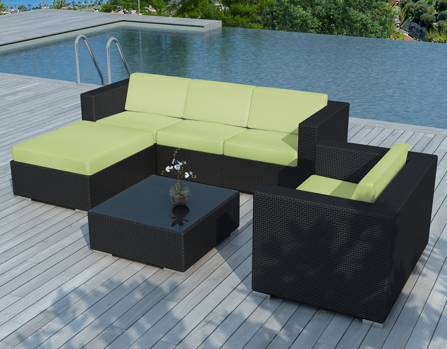 Salon De Jardin Copacabana 6 Pièces En Résine Noire Et Coussins Tissu Blanc  Écru + Un Jeu De Housse Tissu Vert avec Tissu Pour Salon De Jardin